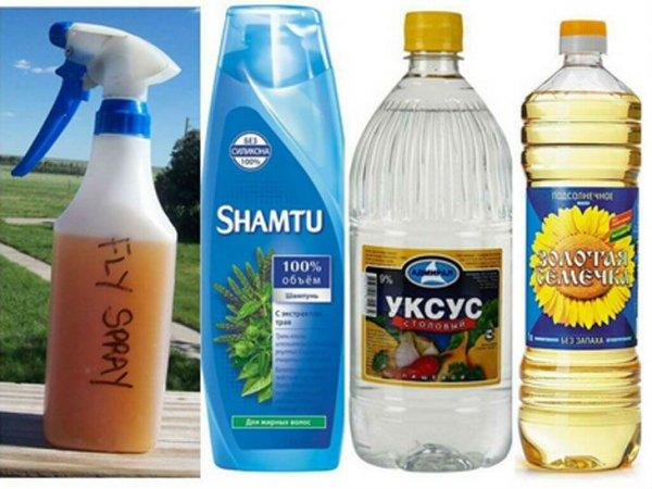 Уксус, шампунь и масло от комаров